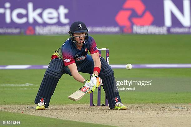 Sam Billings of Kent plays a ramp shot during the NatWest T20 Blast match between Kent and Sussex at The Spitfire Ground on June 30 2016 in...
