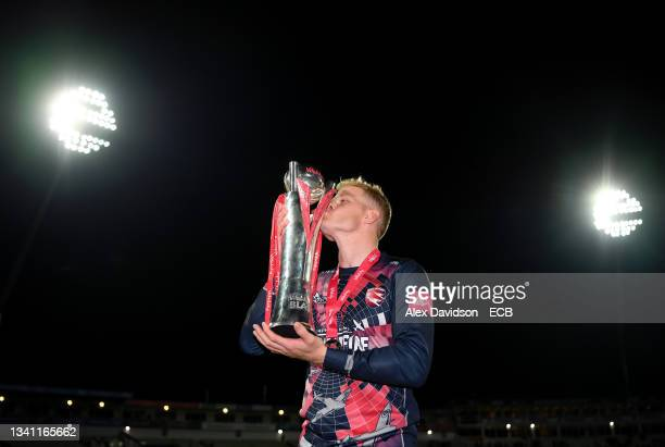 Sam Billings of Kent poses with the Vitality T20 Blast Trophy after victory in the Vitality T20 Blast Final between Somerset and Kent at Edgbaston on...