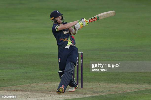 Sam Billings of Kent Spitfires hits out during the match between Kent Spitfires and Sussex Sharks at The Spitfire Ground on August 4 2017 in...