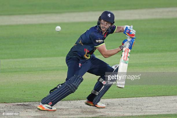 Sam Billings of Kent Spitfires hits out during the NatWest T20 Blast South Group match at The Spitfire Ground on July 18 2017 in Canterbury England
