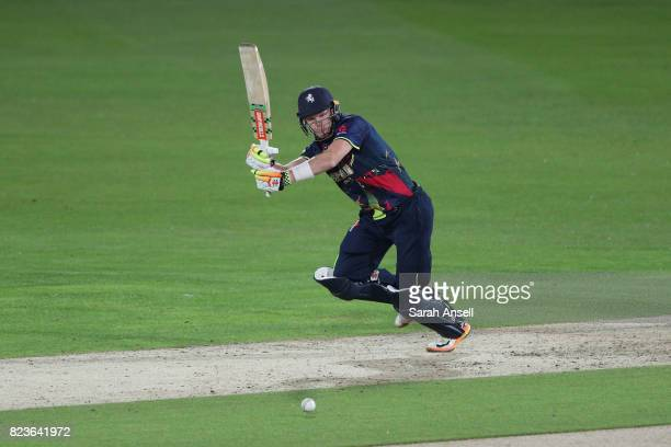Sam Billings of Kent Spitfires hits out during the NatWest T20 Blast South Group match at The Spitfire Ground on July 27 2017 in Canterbury England