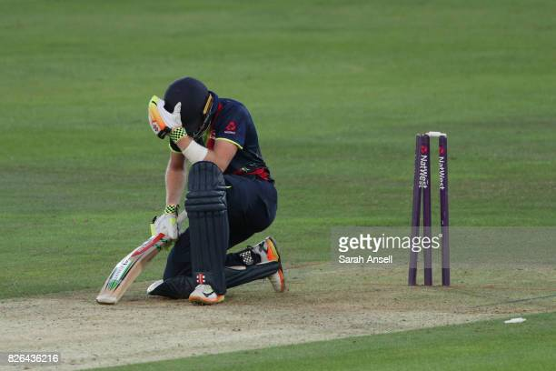 Sam Billings of Kent Spitfires ireacts after being bowled by Chris Jordan of Sussex Sharks during the match between Kent Spitfires and Sussex Sharks...