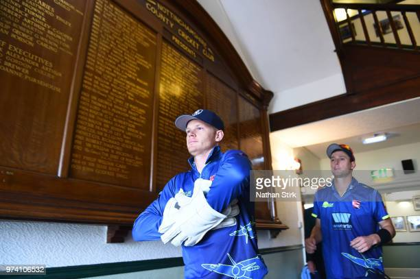 Sam Billings of Kent walks out to the pitch during the Royal London OneDay Cup match between Nottinghamshire Outlaws and Kent Spitfires at Trent...