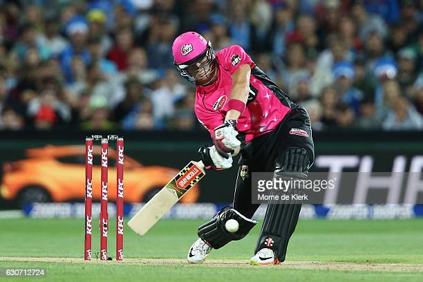 Sam Billings of the Sydney Sixers bats during the Big Bash League match between the Adelaide Strikers and Sydney Sixers at Adelaide Oval on December...