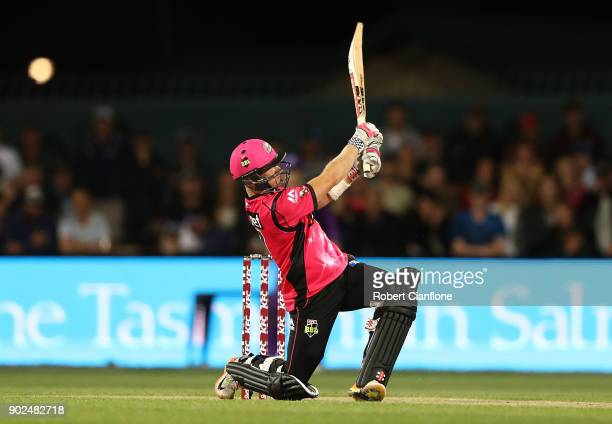 Sam Billings of the Sydney Sixers bats during the Big Bash League match between the Hobart Hurricanes and the Sydney Sixers at Blundstone Arena on...