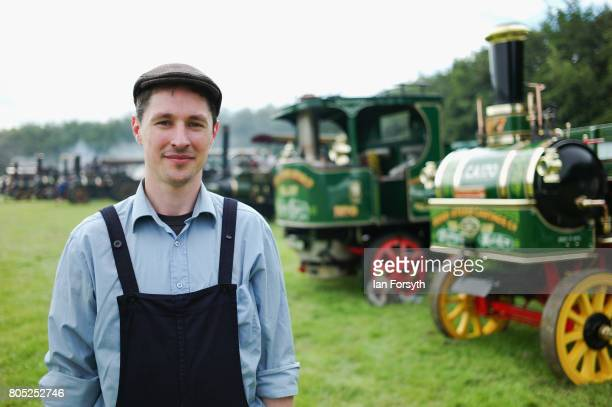 Sam Billmore from Doncaster poses for a pictureas he prepares a steam engine during the Duncombe Park Steam Rally on July 1 2017 in Helmsley United...