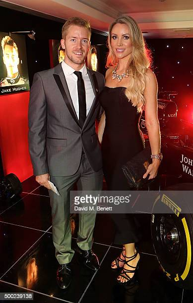 Sam Bird and Holly Christie attend the Autosport Awards drinks reception at The Grosvenor House Hotel on December 6 2015 in London England