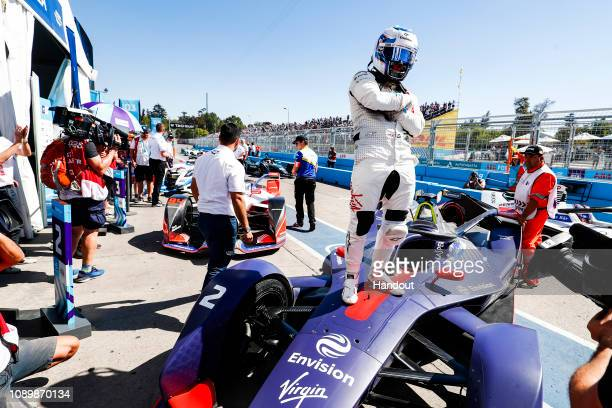 Sam Bird Envision Virgin Racing Audi etron FE05 wins the ePrix during the Santiago Eprix at Parque O'Higgins Circuit on January 26 2019 in Santiago...