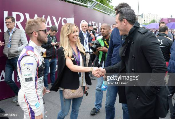Sam Bird Holly Christie and Luke Evans attend the ABB FIA Formula E Qatar Airways Paris EPrix 2018 on April 28 2018 in Paris France