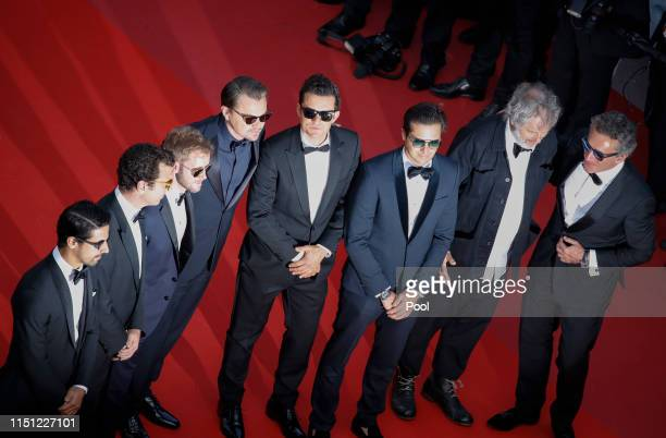 Sam Bird Leonardo DiCaprio Orlando Bloom Nelson Piquet Jr Malcolm Venville and Alejandro Agag attend the screening of The Traitor during the 72nd...