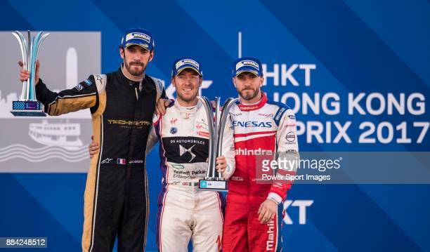 Sam Bird of Great Britain from DS Virgin Racing celebrates with Jean-Eric Vergne of France from TECHEETAH and Nick Heidfeld of Germany from Mahindra...