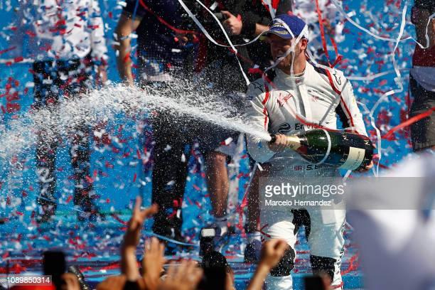 Sam Bird of Virgin celebrates his victory after the 2019 Antofagasta Minerals Santiago EPrix as part of Formula E 2019 season on January 26 2019 in...