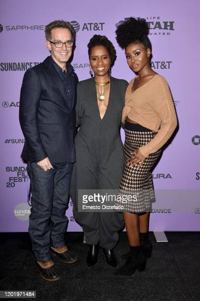 Sam Bisbee Ekwa Msangi and Jayme Lawson attend the 2020 Sundance Film Festival Farewell Amor Premiere at Library Center Theater on January 25 2020 in...