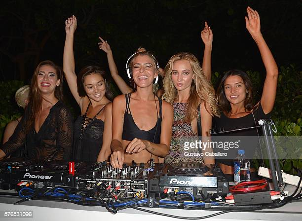 Sam Blacky spins at KAOHS 2017 Collection at SwimMiami Backstage at W South Beach on July 15 2016 in Miami Beach Florida