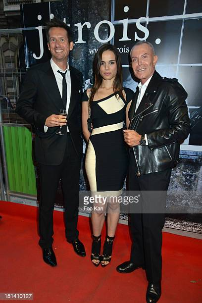 PARIS FRANCE SEPTEMBER Sam Bobino Melissa Mars and Jean Claude Jitrois pose at the Jean Claude Jitrois Shop during the Vogue Fashion Night Out 2012...
