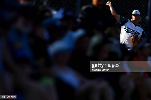 Sam Bordner of the Brewster Whitecaps warms up in the bullpen during game three of the Cape Cod League Championship Series at Stony Brook Field on...
