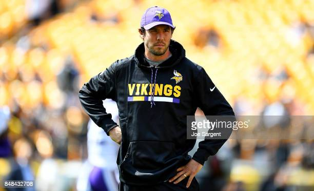 Sam Bradford of the Minnesota Vikings looks on during warmups before the game against the Pittsburgh Steelers at Heinz Field on September 17 2017 in...