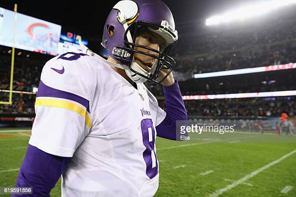 Sam Bradford of the Minnesota Vikings reacts after the Chicago Bears defeated the Minnesota Vikings 2010 at Soldier Field on October 31 2016 in...