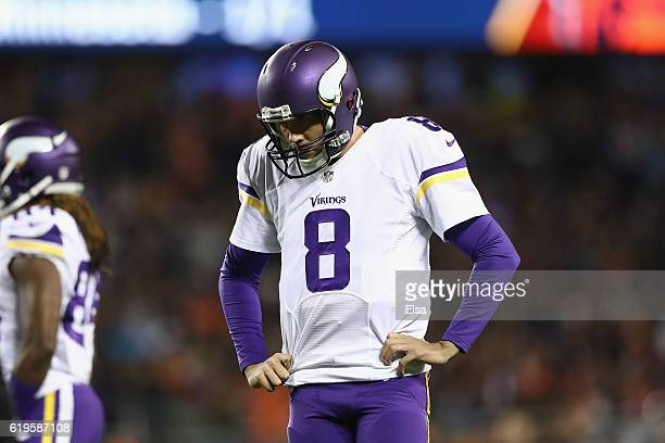 Sam Bradford of the Minnesota Vikings reacts during the first half against the Chicago Bears at Soldier Field on October 31 2016 in Chicago Illinois