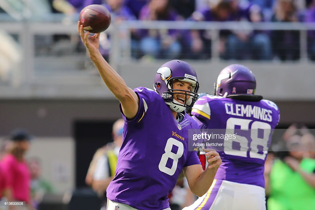 Sam Bradford #8 of the Minnesota Vikings throws the ball during the first quarter of the game against the Houston Texans on October 9, 2016 at US Bank Stadium in Minneapolis, Minnesota.