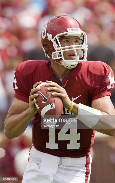 Sam Bradford of the Oklahoma Sooners looks to throw a pass against the Miami Hurricanes at Gaylord FamilyOklahoma Memorial Stadium September 8 2007...