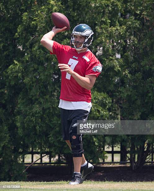 Sam Bradford of the Philadelphia Eagles participates in OTA's on May 28 2015 at the NovaCare Complex in Philadelphia Pennsylvania