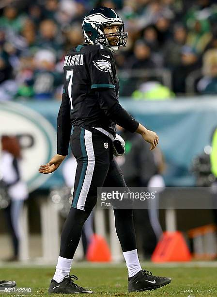 Sam Bradford of the Philadelphia Eagles walks off the field after he fumbled the ball as he was sacked in the third quarter against the Arizona...