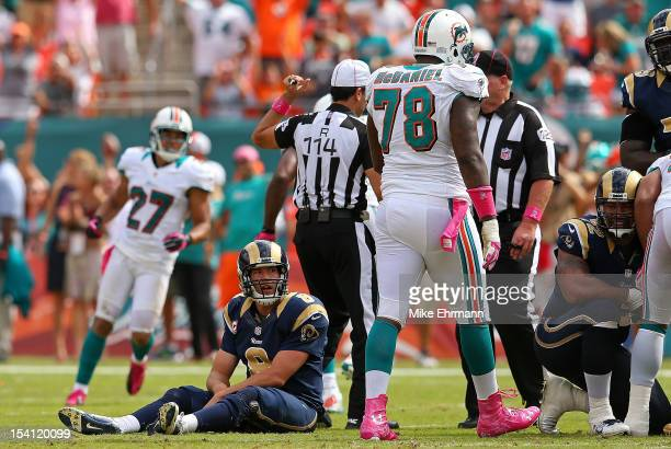 Sam Bradford of the St Louis Rams looks on during a game against the Miami Dolphins at Sun Life Stadium on October 14 2012 in Miami Gardens Florida