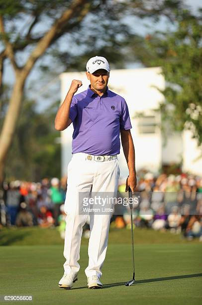 Sam Brazel of Australia celebrates winning the UBS Hong Kong Open at The Hong Kong Golf Club on December 11 2016 in Hong Kong Hong Kong