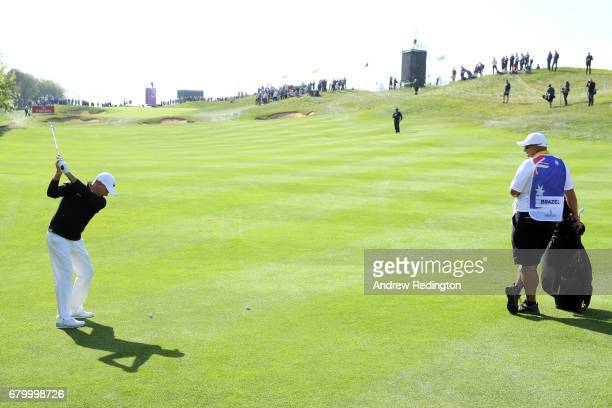 Sam Brazel of Australia hits a second shot on the 3rd hole during the final match between Denmark and Australia during day two of GolfSixes at The...