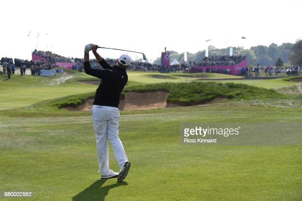 Sam Brazel of Australia hits a second shot on the 6th hole during the final match between Denmark and Australia during day two of GolfSixes at The...