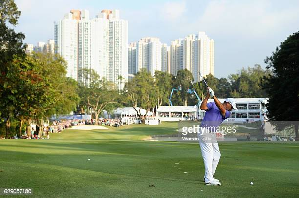 Sam Brazel of Australia plays his final shot into the 18th green en route to winning the UBS Hong Kong Open at The Hong Kong Golf Club on December 11...