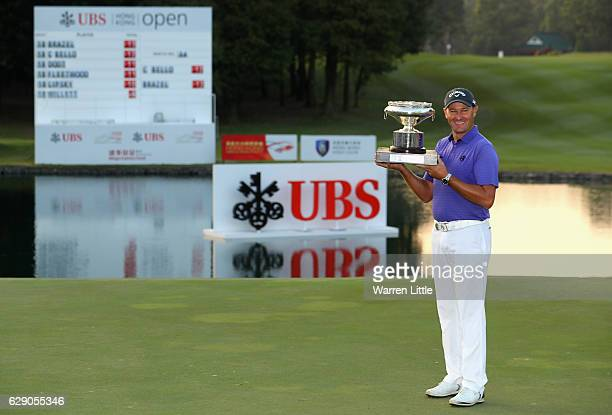 Sam Brazel of Australia poses with the trophy after winning the UBS Hong Kong Open at The Hong Kong Golf Club on December 11 2016 in Hong Kong Hong...