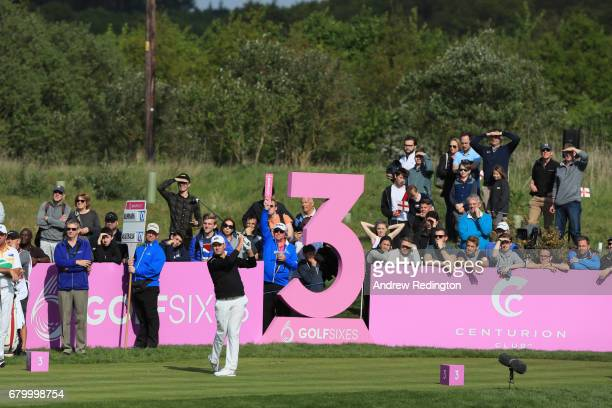 Sam Brazel of Australia tees off on the 3rd hole during the final match between Denmark and Australia during day two of GolfSixes at The Centurion...