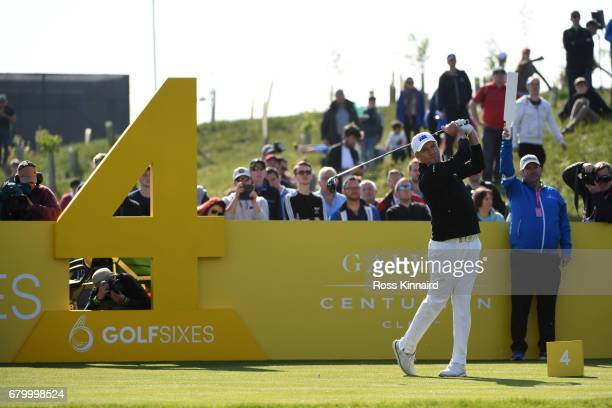 Sam Brazel of Australia tees off on the 4th hole during the final match between Denmark and Australia during day two of GolfSixes at The Centurion...