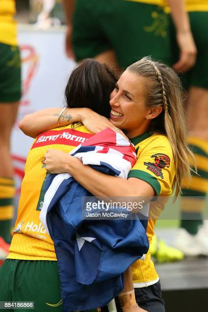 Sam Bremner hugs Nakia DavisWelsh of the Jillaroos after winning the 2017 Rugby League Women's World Cup Final between Australia and New Zealand at...