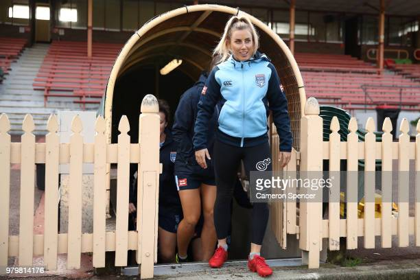 Sam Bremner of the Blues walks onto the field during the New South Wales women's State of Origin captain's run at North Sydney Oval on June 21 2018...