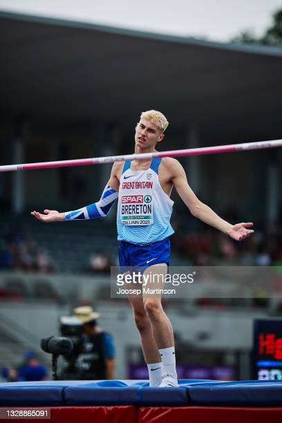 Sam Brereton of Great Britain competes in the Men's High Jump Qualification during European Athletics U20 Championships Day 1 at Kadriorg Stadium on...
