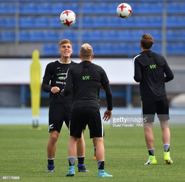 Sam Brotherton controls the ball during a training session of the New Zealand national football team at Petrovsky Stadium on June 18 2017 in Saint...