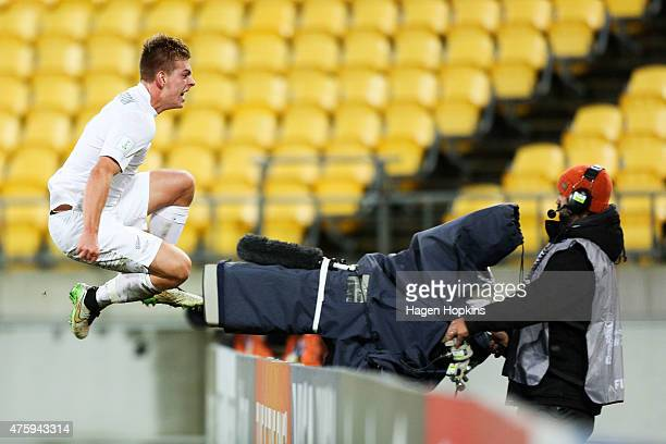 Sam Brotherton of New Zealand celebrates his goal during the FIFA U20 World Cup New Zealand Group A match between Myanmar and New Zealand at...