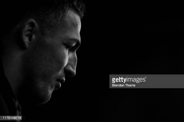 Sam Burgess addresses the media during a South Sydney Rabbitohs NRL media opportunity at Redfern Oval on September 17 2019 in Sydney Australia