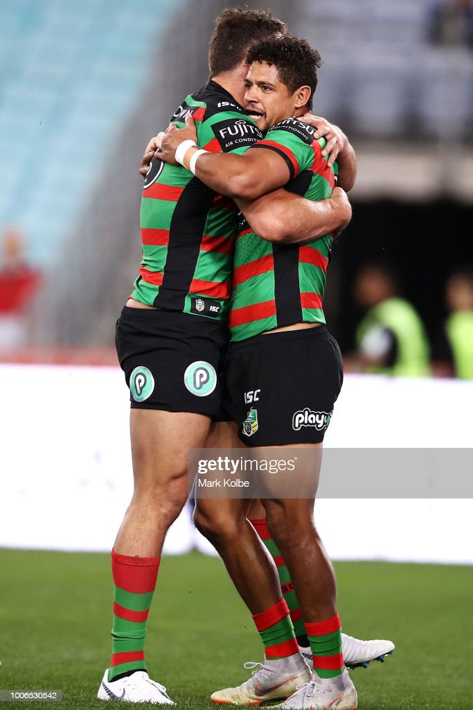 Sam Burgess and Dane Gagai of the Rabbitohs celebrate Dane Gagai scoring a try during the round 20 NRL match between the South Sydney Rabbitohs and the Parramatta Eels at ANZ Stadium on July 28, 2018 in Sydney, Australia.