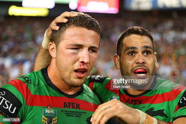 Sam Burgess and Greg Inglis of the Rabbitohs show their emotion after winning the 2014 NRL Grand Final match between the South Sydney Rabbitohs and...