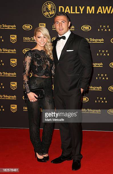 Sam Burgess and Joelle Hadjia arrive ahead of the 2013 Dally M Awards at Star City on October 1 2013 in Sydney Australia