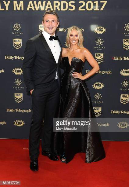 Sam Burgess and Phoebe Burgess arrive ahead of the 2017 Dally M Awards at The Star on September 27 2017 in Sydney Australia