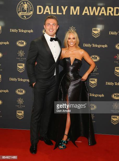 Sam Burgess and Phoebe Burgess arrive ahead of the Dally M Awards at The Star on September 27 2017 in Sydney Australia