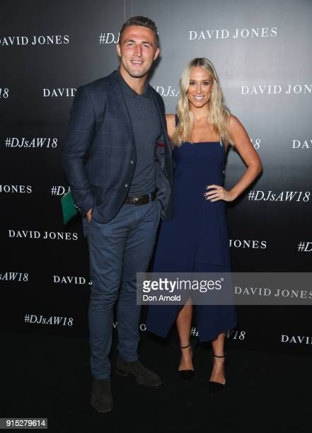 Sam Burgess and Phoebe Burgess arrive ahead of the David Jones Autumn Winter 2018 Collections Launch at Australian Technology Park on February 7 2018...