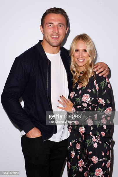 Sam Burgess and Phoebe Burgess arrive ahead of the Ellery X Etihad Airways event at MercedesBenz Fashion Week Resort 18 Collections at The Elston...