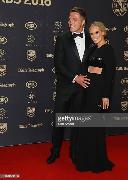 Sam Burgess and Phoebe Burgess arrive at the 2016 Dally M Awards at Star City on September 28 2016 in Sydney Australia