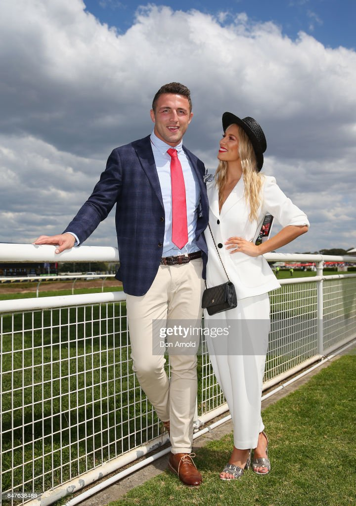 Sam Burgess and Phoebe Burgess attend Colgate Optic White Stakes Day at Royal Randwick Racecourse on September 16, 2017 in Sydney, Australia.